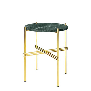 GamFratesi TS Table Ø40 Marble green/brass