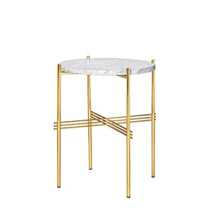GamFratesi TS Table Ø40 Marble White/brass
