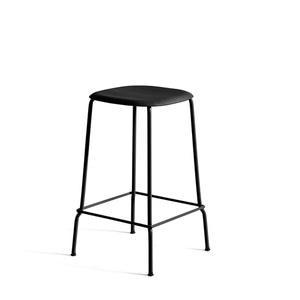 Soft edge 30 bar stool H65 black base  black steel legs