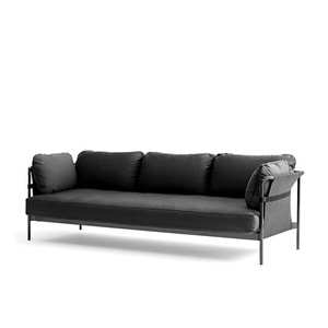 CAN Sofa 3 seater Black frame/Black Strap Grey Canvas/Leather Black