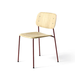 Soft Edge 10  Oak Matt Lacquer Seat  Fall Red Steel Legs