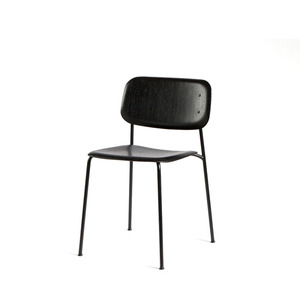 Soft Edge 10  Black Moulded Oak Veneer Seat  Black Steel Legs