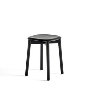 Soft Edge 72 Stool  Black Seat Black Stained Legs