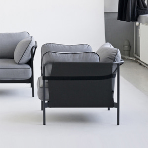 CAN Sofa 1 seater  Black frame/Blue Canvas/SUR#990