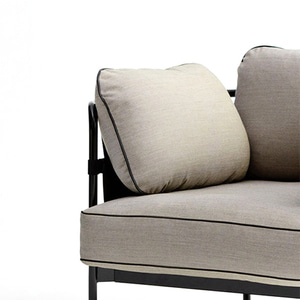 CAN Sofa 1 seater  Black frame/Grey Canvas/SUR#420