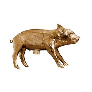 Limited Edition  Bank In The Form Of A Pig Gold Chrome
