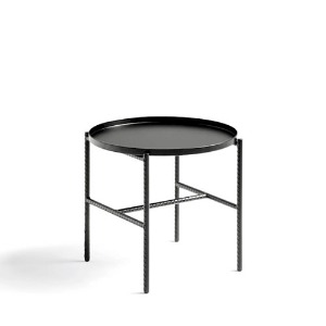 Rebar Round Side Table Soft Black Frame