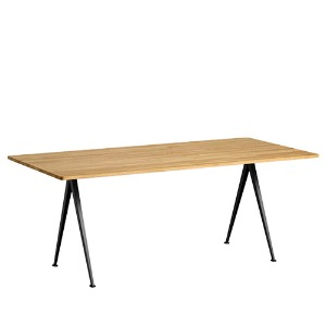 Pyramid Table 02  Black Frame / Clear Lacquered Solid Oak Top L190 x W85 x H74 주문 후 3개월 소요