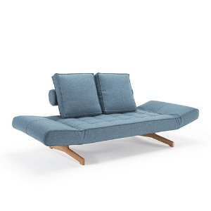 Ghia Sofa Bed #525 Light blue/ Wood
