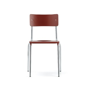 Comeback 041 Chair Red Stained Beech/Chrome Frame