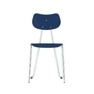 Arno 417 Chair Dark Blue Stained Beech/Chrome Frame