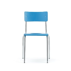 Comeback 041 Chair Light Blue Stained Beech/Chrome Frame