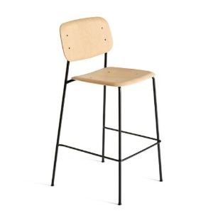 Soft Edge10 Bar Stool Matt lacquered Oak / Black Powder Coated Steel Legs