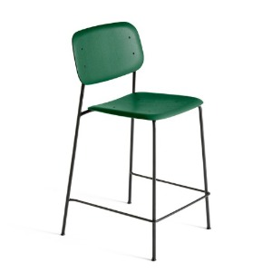 Soft Edge10 Bar Stool Hunter / Black Powder Coated Steel Legs